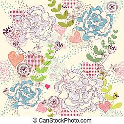 corazones, seamess, flores, patrón