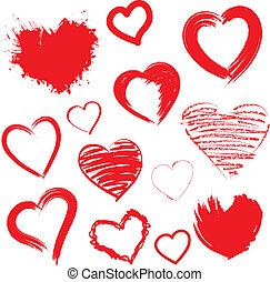 corazones, set., vector, drawn., mano