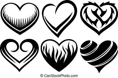 corazones, tatuajes, vector