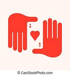 corazones, tenencia de la mano, as, hombre