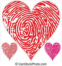 corazones, thumbprint