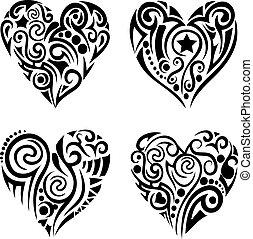 corazones, tribal