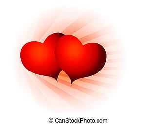 corazones, valentine, san, dos