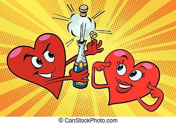 corazones, valentines, abierto, champaña, rojo