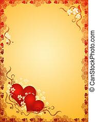 corazones, valentines, dorado, blanco