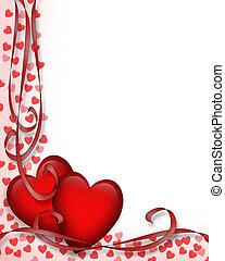 corazones, valentines, frontera, día, rojo