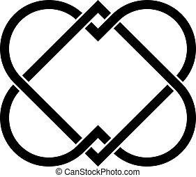 corazones, vector, ligado