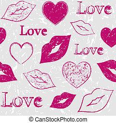 corazones, y, labios, en, grunge, plano de fondo