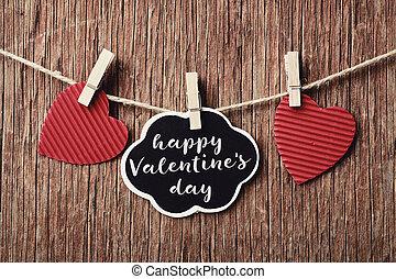 corazones, y, texto, feliz, día de valentines