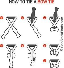 corbata, arco, cómo