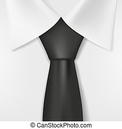 corbata, blanco, camisa negra
