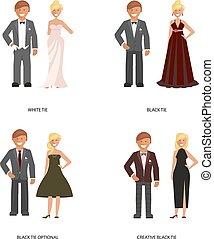 corbata, código, vestido