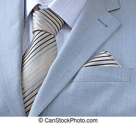 corbata, camisa, traje, blanco, pedazo, bufanda