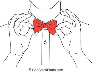 corbata camisa, vector, arco, hipster