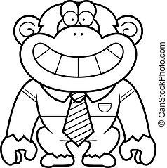 corbata, caricatura, chimpancé