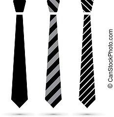 corbata, conjunto, negro