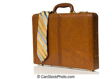 corbata, cuello, maletín