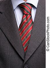 corbata, detalle, traje