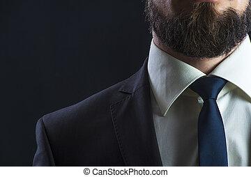 corbata, elegante, hombre, traje