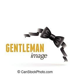 corbata, negro, arco