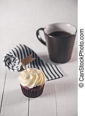 corbata, padres, present., creativo, delicioso, concept., cupcake, día