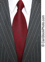 corbata, pinstripe, gris, traje