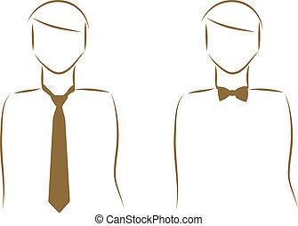 corbata, y, un, corbata de lazo