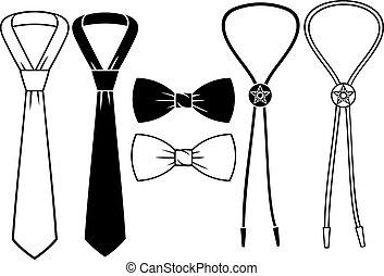 corbatas, arco, empresa / negocio, bolo, vaquero