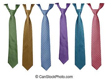 corbatas, colorido, colección