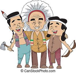 corbatas, norteamericano, tribal, nativo