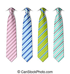 corbatas, rayado, seda