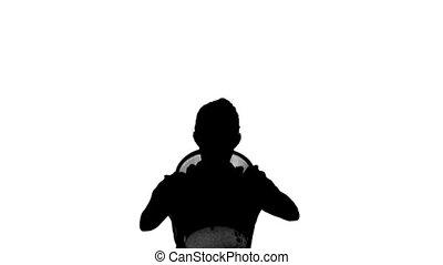 corbeille, mouvement, lent, silhouette, élévation