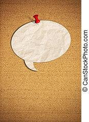 corcho, nota, empujón, papel, discurso, tabla, blanco, alfileres, burbuja