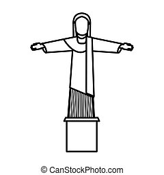 corcovado christ isolated icon