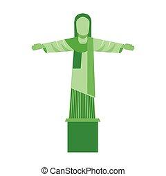 corcovado, cristo, aislado, icono