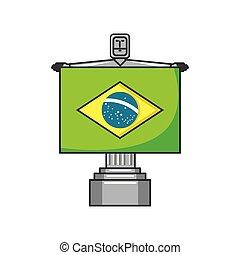 corcovado, cristo, monumento, con, bandera, de, brasil