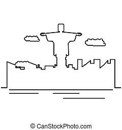 corcovado, cristo, monumento, con, cityscape