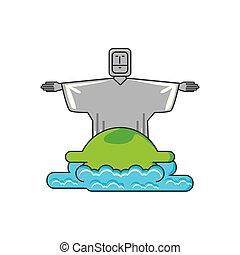 corcovado, cristo, monumento, con, mar