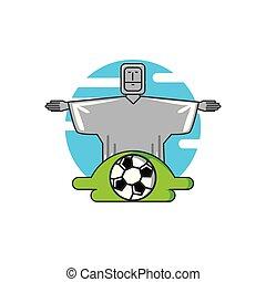 corcovado, cristo, monumento, con, pelota del fútbol