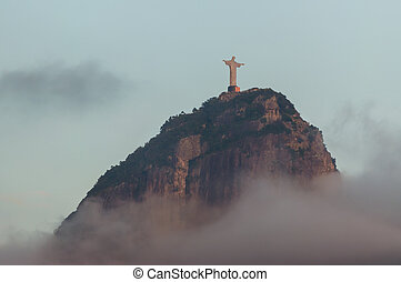 Corcovado mountain and Christ the Redeemer in Rio de Janeiro...