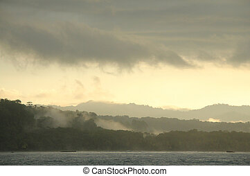 Corcovado - Morning Mist over Corcovado, Osa Peninsula,...