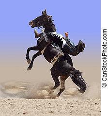 corcovear, rodeo, caballo, con, jinete