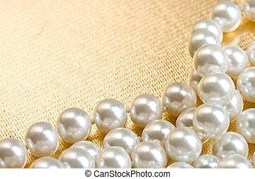 cordão de pérolas, ligado, dourado, superfície