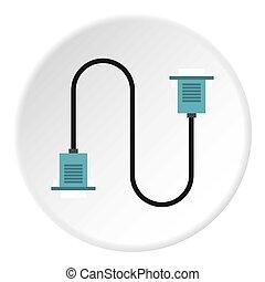 Cord VGA icon, flat style