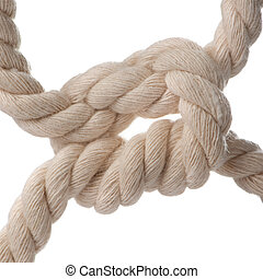 Cord with knot. A fragment of a cord it is isolated on a...