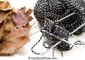 Cord wool   - Cord wool with autumn leaves