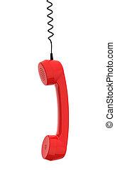 corda, affari, telefono, frollare, retro, fondo, ricevitore, bianco, relativo, rosso