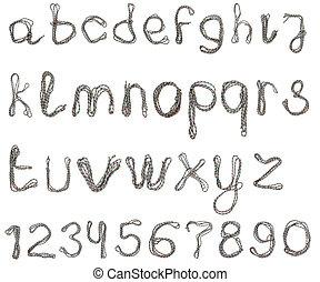 corda, alfabeto, algodão
