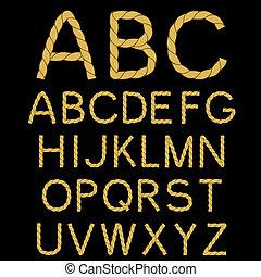 corda, alfabeto, vetorial, fonte