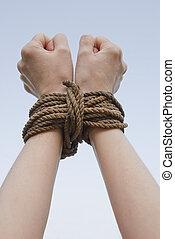 corda, amarrada, mãos